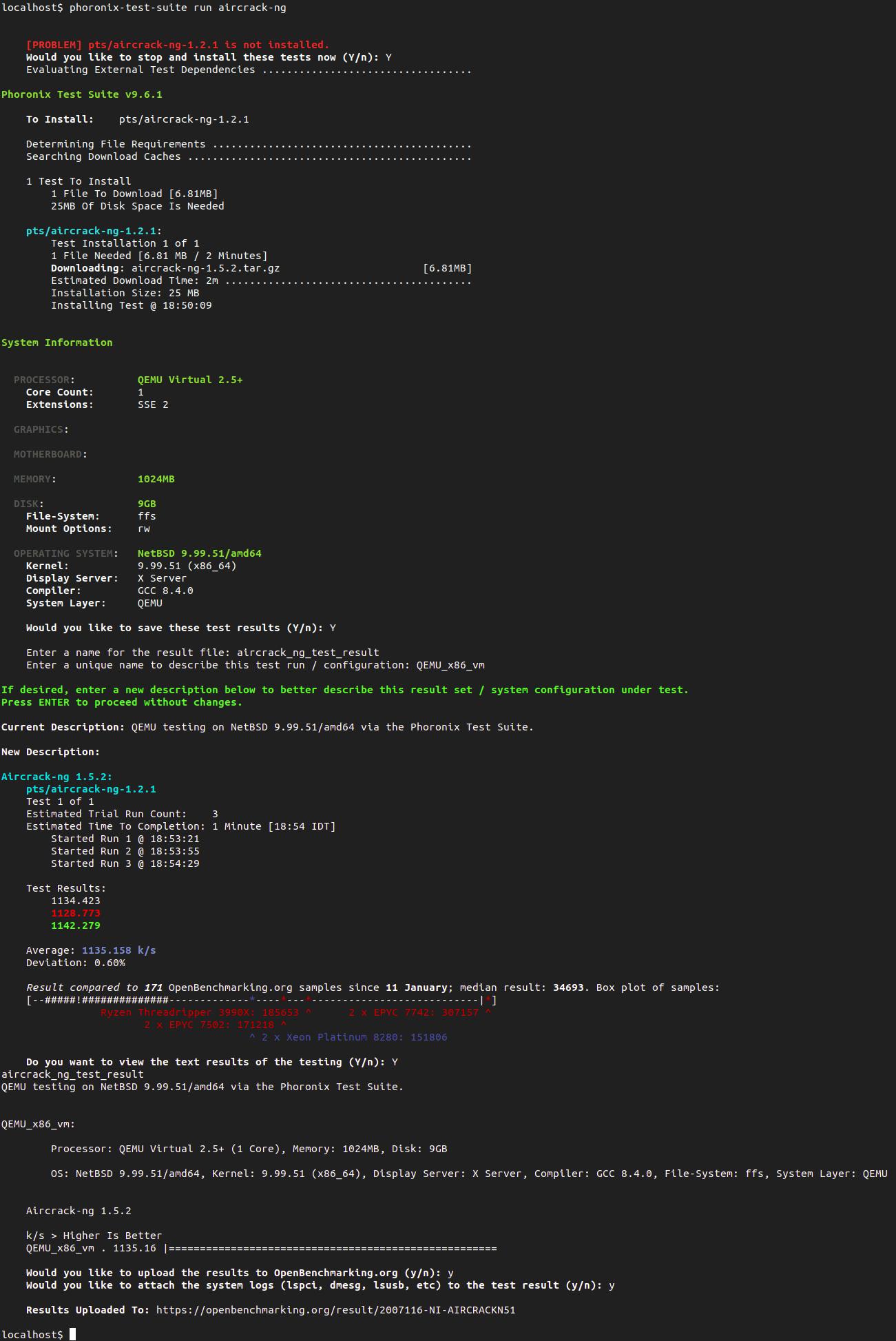 Screenshot of aircrack-ng PTS test-profile results