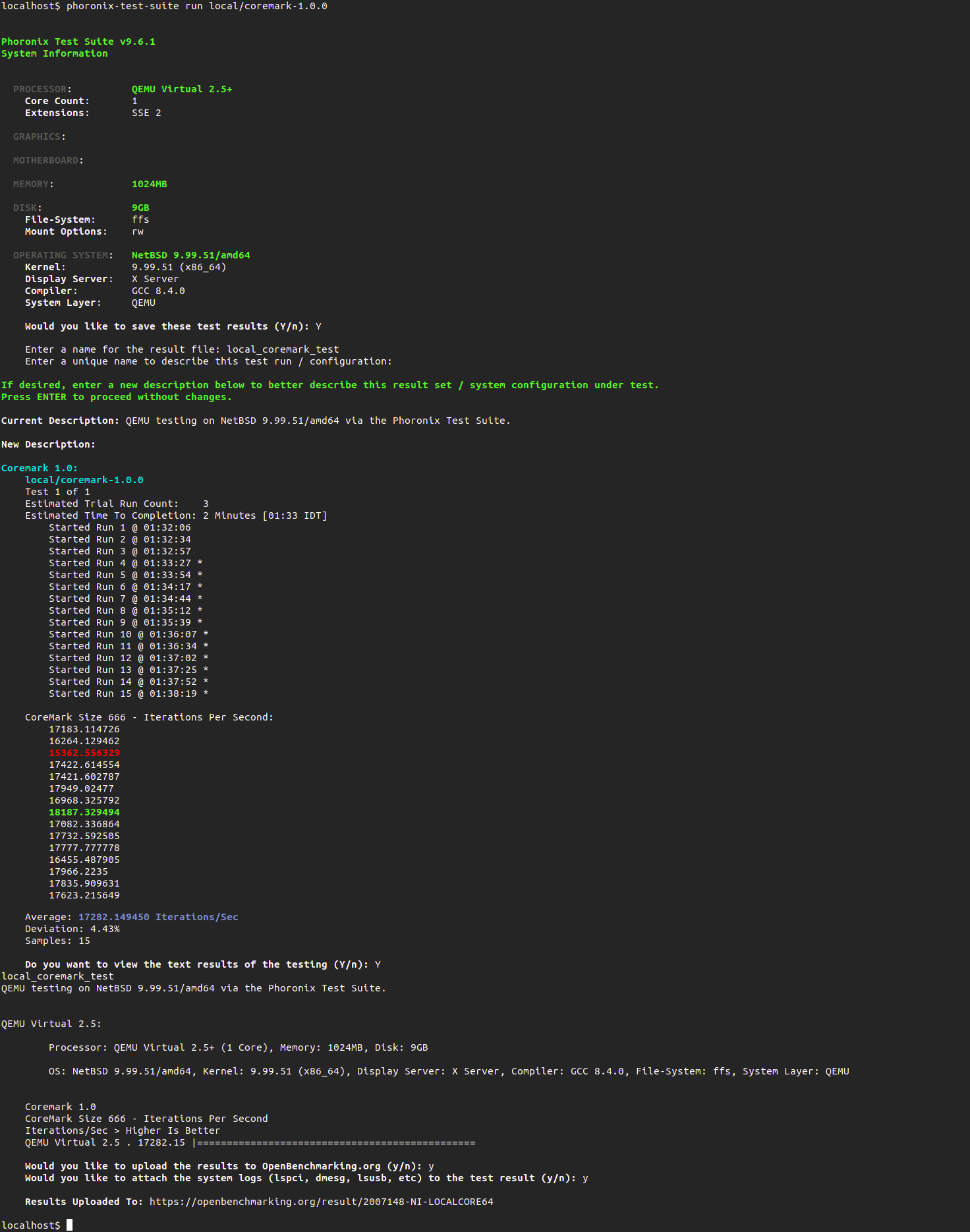 Screenshot of patched coremark PTS test-profile results