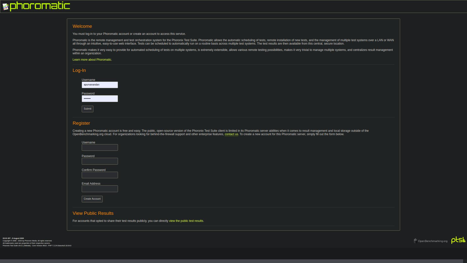 Phoromatic login page image
