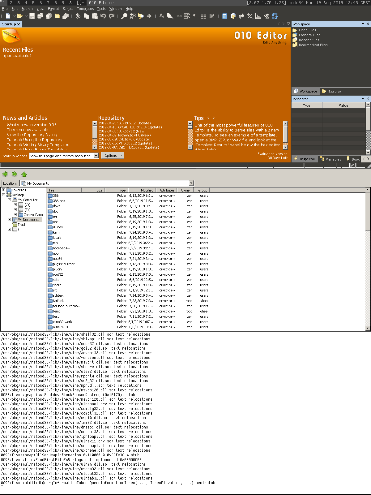 010 Editor (Professional Text/Hex Editor) on Wine-4.13 (amd64)