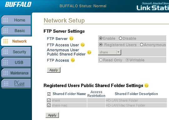 Enable FTP access with the GUI