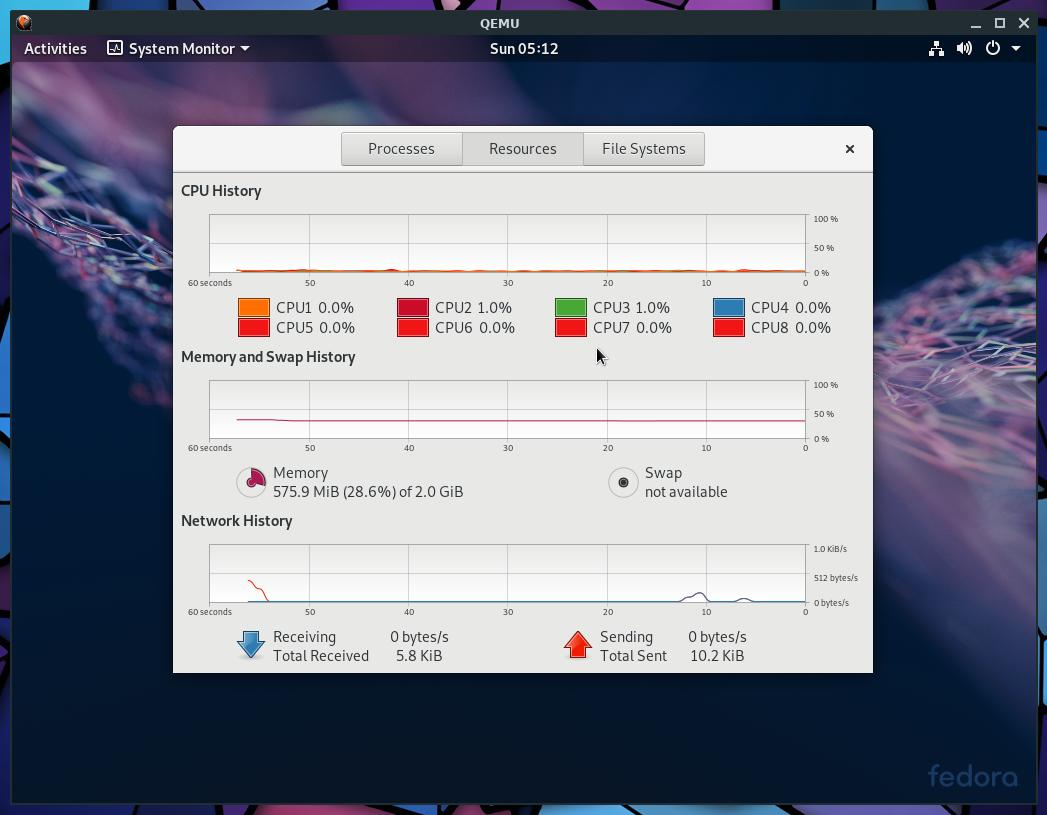 Fedora 29 on Qemu+NVMM