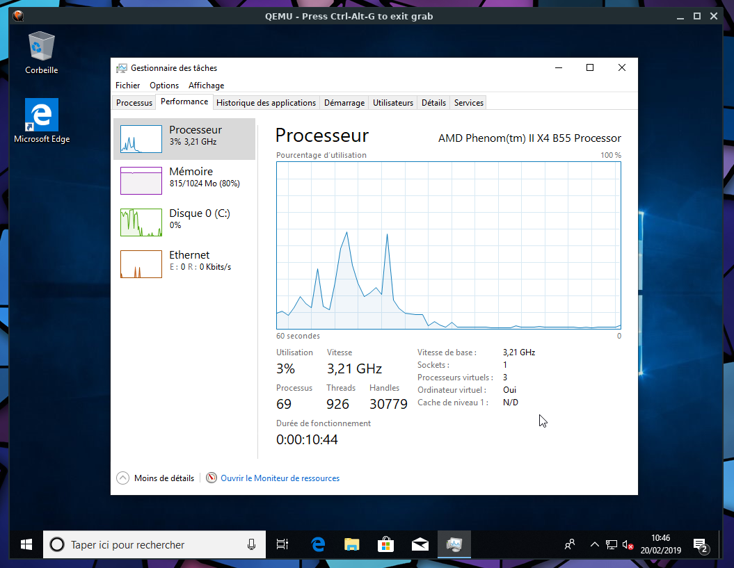 Windows 10 on Qemu+NVMM